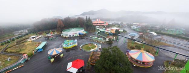 秋吉台サファリランド遊園地の観覧車からの眺め