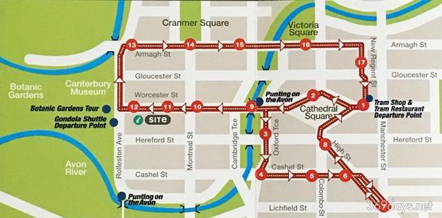 クライストチャーチトラムの路線図(トラムのパンフレットより)